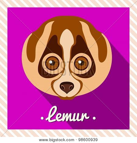 Vector portrait of a  lemur. Symmetrical portraits of animals. Vector Illustration, greeting card.