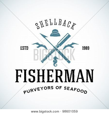 Vintage Shell Back Fisherman Vector Logo Template with Shabby Texture.