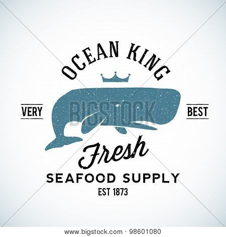 Ocean King Seafood Supplyer Vintage Vector Logo Template with Shabby Texture. Good for Maritime Supp