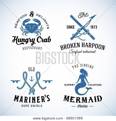 Set of Vintage Nautical Sea Labels with Retro Typography. Good for Seafood Restaurant or Cafe, Marin