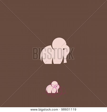 Pink Tiny Elephant Abstract Vector Logo Template, Sign or Icon