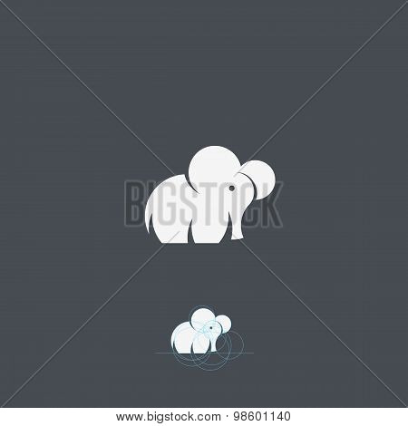 Tiny Elephant Abstract Vector Logo Template, Sign or Icon