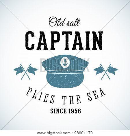 Old Salt Captain Vintage Marine Vector Logo Template with Shabby Texture.