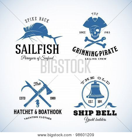 Vintage Nautical Sea Vector Logos or Labels with Retro Typography. Good for Seafood Restaurant, Cafe