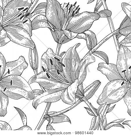 Sprigs of blooming lily. Engraved seamless pattern