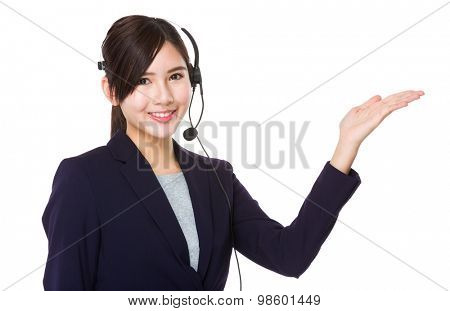 Customer services representative with open hand palm