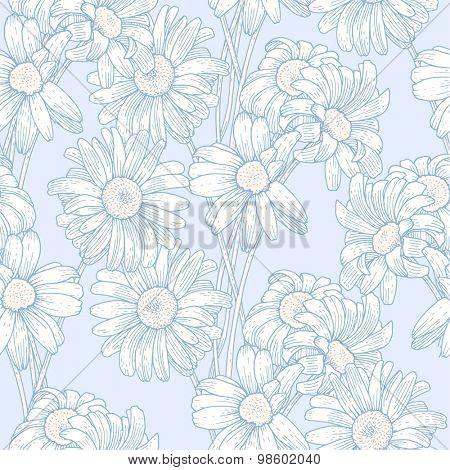 Sprigs of blooming chrysanthemum. Engraved seamless pattern