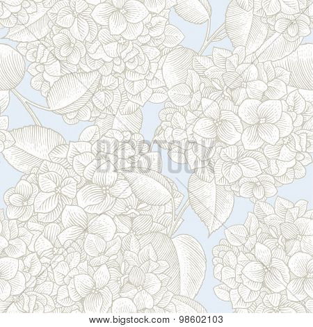 Sprigs of blooming hydrangea. Engraved seamless pattern