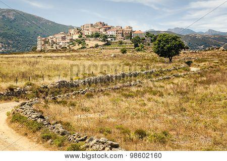 Village Of Sant'antonino In Balagne Region Of Corsica