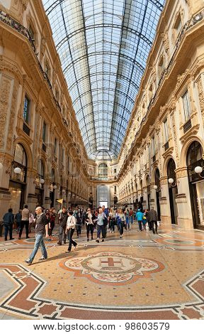 Tourists Inside Of Galleria Vittorio Emanuele Ii In Milan, Italy