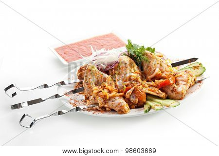 Marinated Chicken with Vegetables and Red Sauce