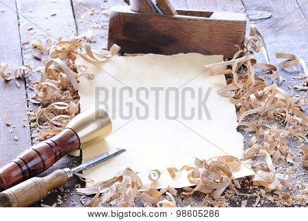 Carpenter Tools With Blank Parchment.