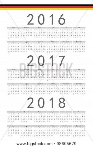 Set Of Rectangle German 2016, 2017, 2018 Year Vector Calendars