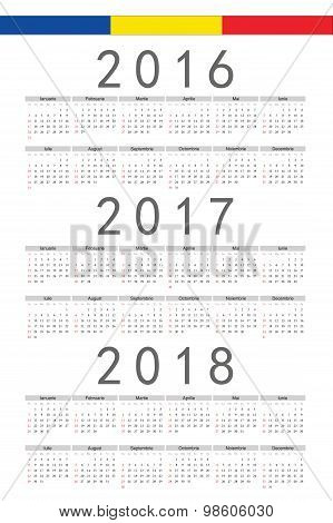Set Of Rectangle Romanian 2016, 2017, 2018 Year Vector Calendars