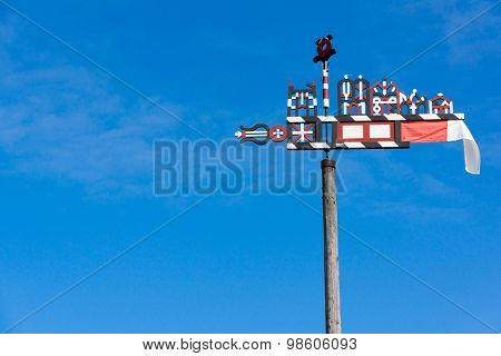 Wooden carved weather vane in Nida, Lithuania