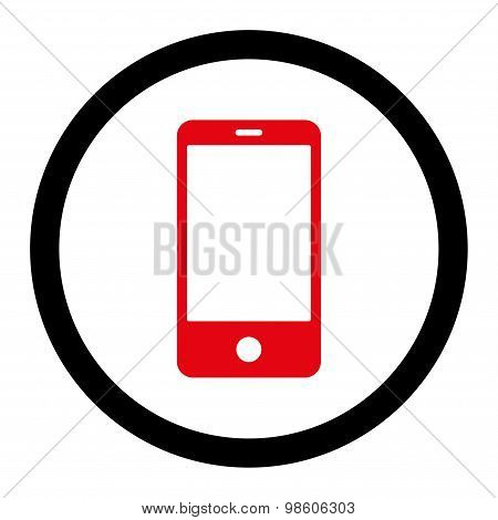 Smartphone flat intensive red and black colors rounded raster icon