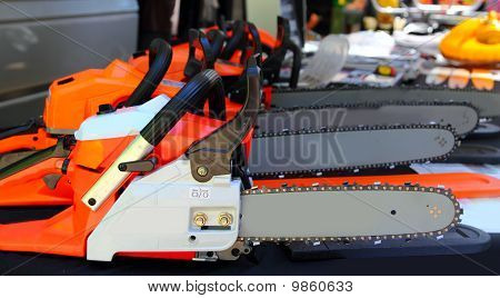 Chain Saw Machines Row Perspective In Market