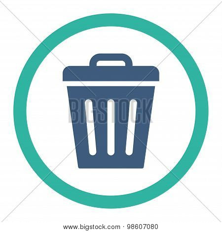 Trash Can flat cobalt and cyan colors rounded raster icon