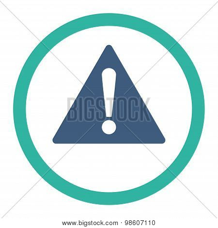 Warning flat cobalt and cyan colors rounded raster icon