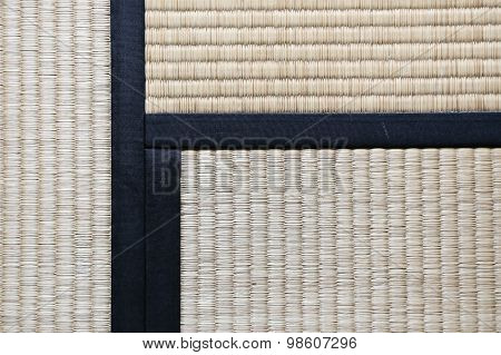 Japanese Tatami Rug Background With Three Tatamis Joining