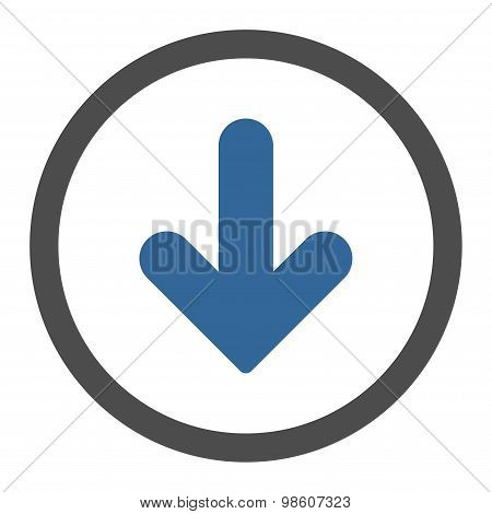 Arrow Down flat cobalt and gray colors rounded raster icon