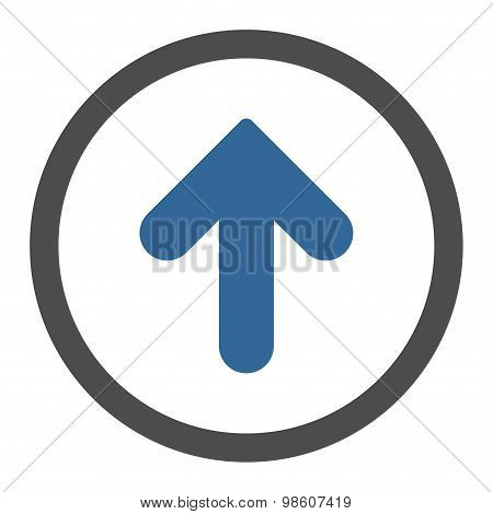 Arrow Up flat cobalt and gray colors rounded raster icon