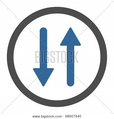 Arrows Exchange Vertical flat cobalt and gray colors rounded raster icon