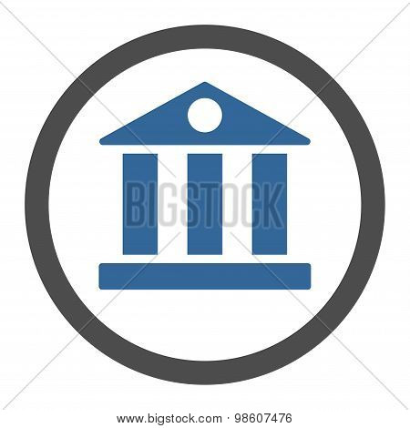 Bank flat cobalt and gray colors rounded raster icon