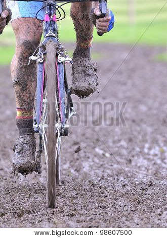 Bicycle Chain With Mud In A Race.