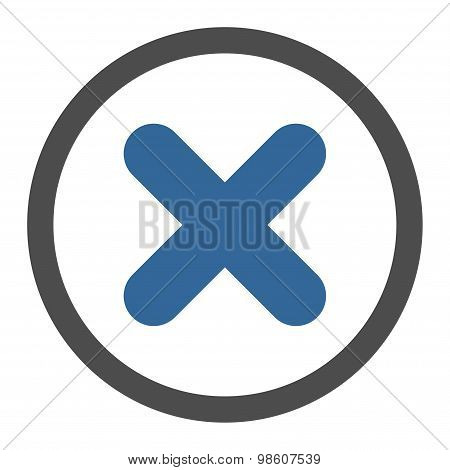 Cancel flat cobalt and gray colors rounded raster icon
