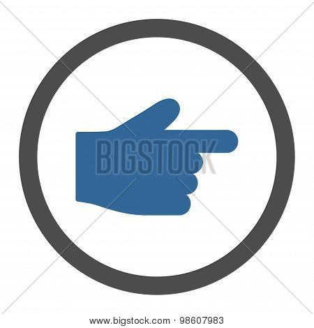 Index Finger flat cobalt and gray colors rounded raster icon