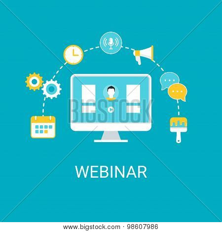 Webinar, Webcast, Livestream, Online Event Illustration