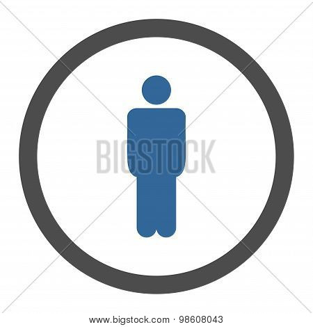 Man flat cobalt and gray colors rounded raster icon