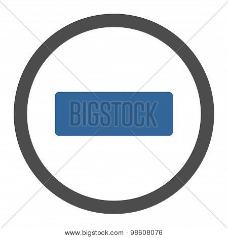 Minus flat cobalt and gray colors rounded raster icon