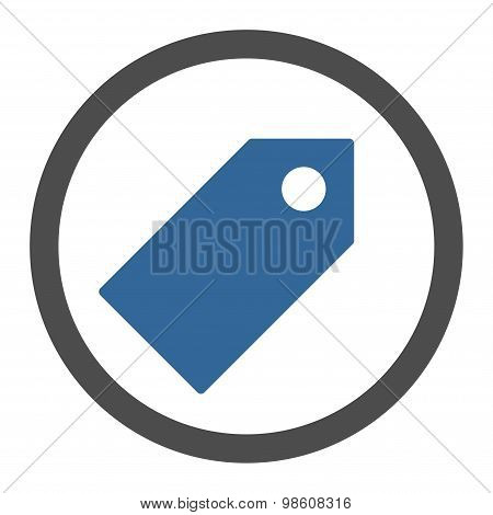 Tag flat cobalt and gray colors rounded raster icon