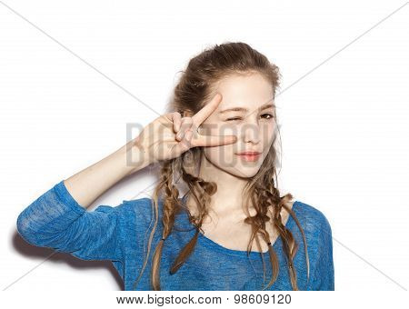 Portrait Of Teen Girl Beautiful Cheerful Enjoying