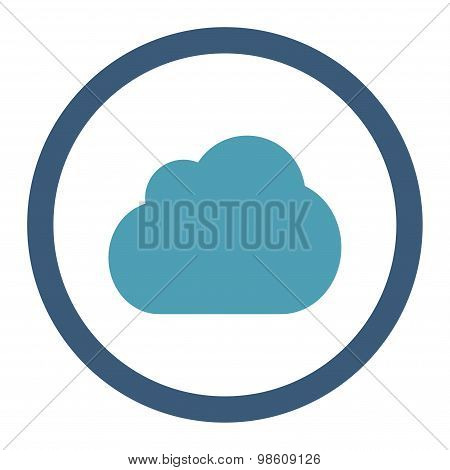 Cloud flat cyan and blue colors rounded raster icon