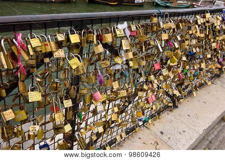 Padlocks On Bridge