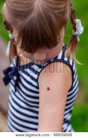 Ladybug On Shoulder For Girl