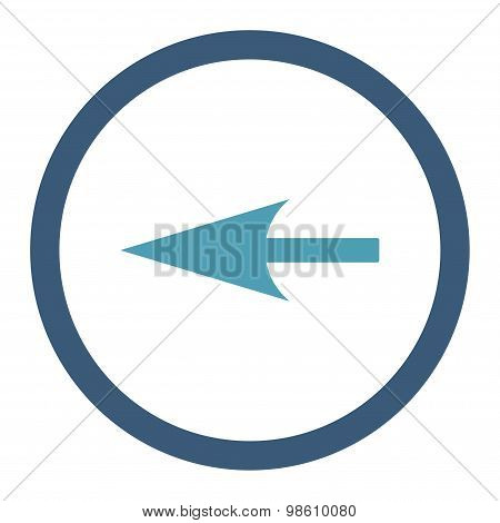Sharp Left Arrow flat cyan and blue colors rounded raster icon