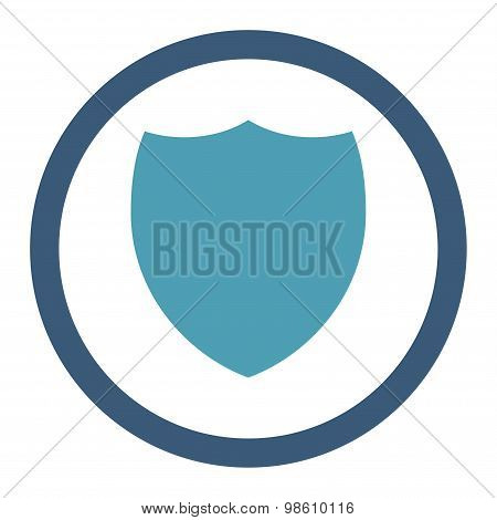 Shield flat cyan and blue colors rounded raster icon