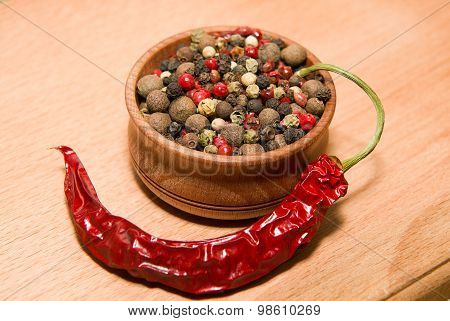Peppercorn And Chilli On A Wooden Surface