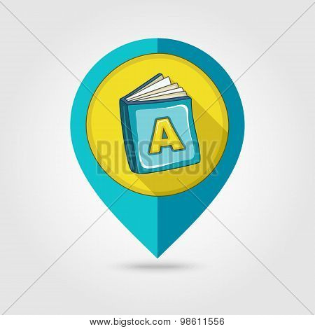 Book Flat Mapping Pin Icon