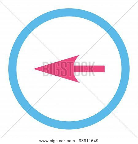 Sharp Left Arrow flat pink and blue colors rounded raster icon