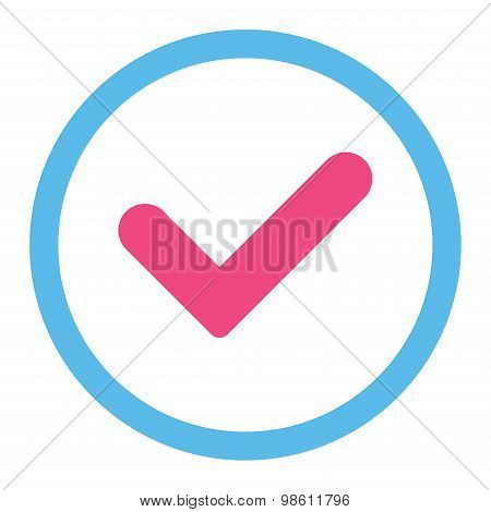Yes flat pink and blue colors rounded raster icon