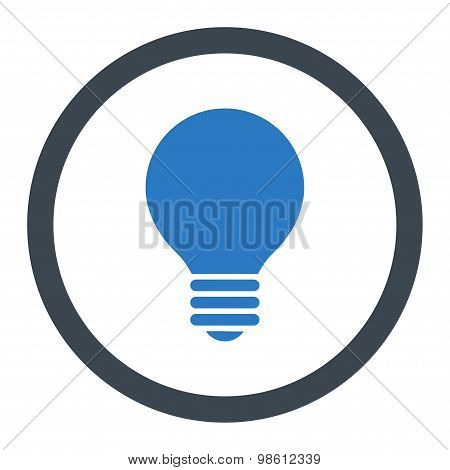 Electric Bulb flat smooth blue colors rounded raster icon