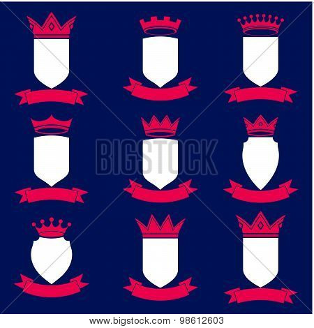 Collection of empire design elements. Heraldic royal coronet illustration. Set of vector shields