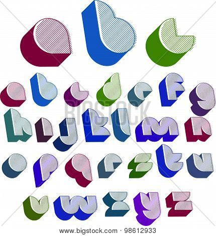 3d font with good style, simple shaped bold letters alphabet made with round shapes and lines