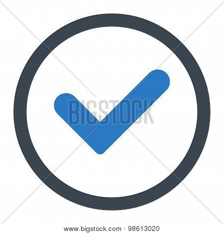 Yes flat smooth blue colors rounded raster icon