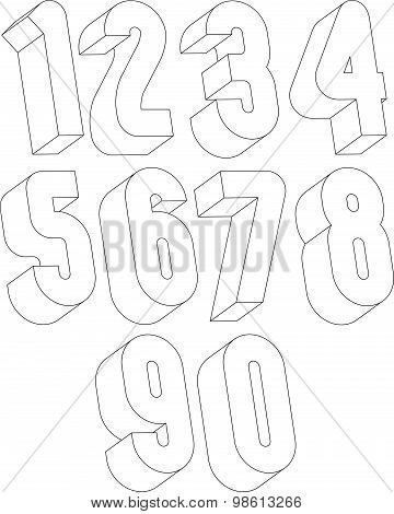 3d black and white numbers made with lines, stylish simple shaped numerals for design.